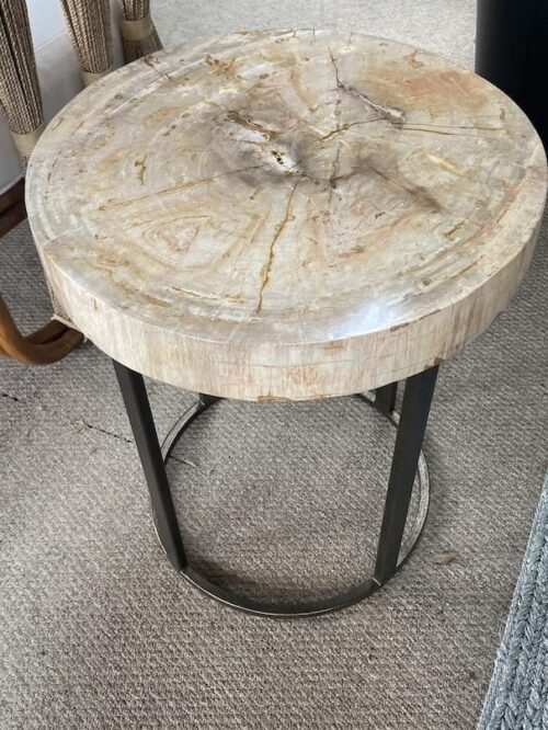 Palecek Petrified Wood Table at Mums Place Furniture Monterey CA