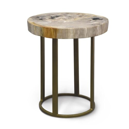 Palecek Petrified Wood Slice Table With Round Iron Base at Mums Place Furniture Carmel CA