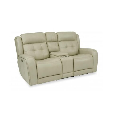 Flexsteel Grant Power Reclining Loveseat With Console And Power Headrests Pebble Beach Home